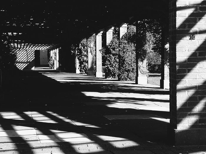 Shadow Sunlight Architecture Black And White Outdoors Blackandwhite Photography No People Footpath Built Structure