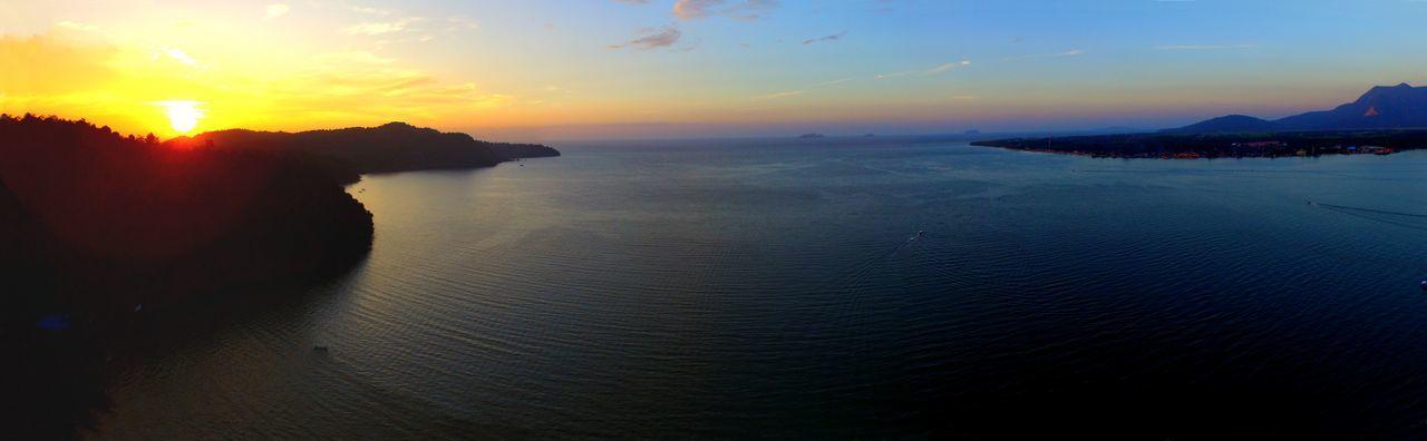 Panoramic golden hour of Pantai Merdeka and Tanjung Dawai, Kedah MY Drone  Beach Dronephotography Goldenhour Horizon Over Water Pantaimerdeka Scenics Sea Sky Sunset Tajungdawai Travel Destinations Water EyeEmNewHere EyeEm Ready