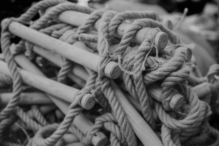 Close-up of rope ladder