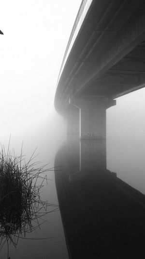 Bridge Fog Sweden Lake Dark Mysterious Black'n'white