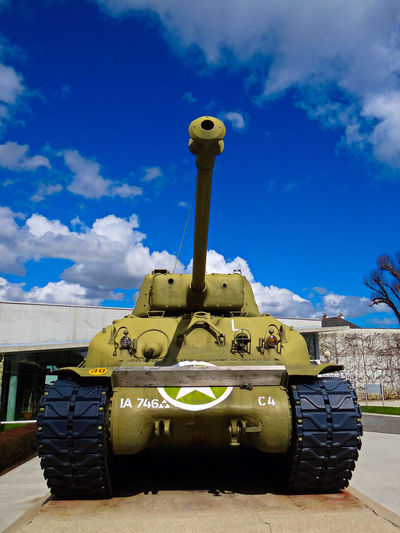 Allied Invasion Architecture Building Exterior Cloud - Sky Construction Vehicle Day Land Vehicle Low Angle View Military Museum No People Normandy Normandy Landing Outdoors Sherman Sherman Tank Sky St Mere L'Eglise Tanks WWII WWII History