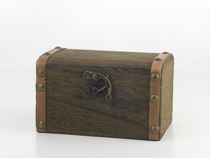 treasure chest box on the white background Antique Box Container Pirate Retro Treasure Box Antique Brown Chest Box Decoration Indoors  Lock Luggage No People Object Retro Styled Security Single Object Storage Studio Shot Suitcase Travel Trunk White Background Wood - Material