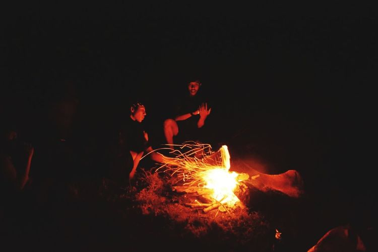 Heat - Temperature Night Glowing Burning Flame Lava Outdoors Campfire Molten No People Tree Sky