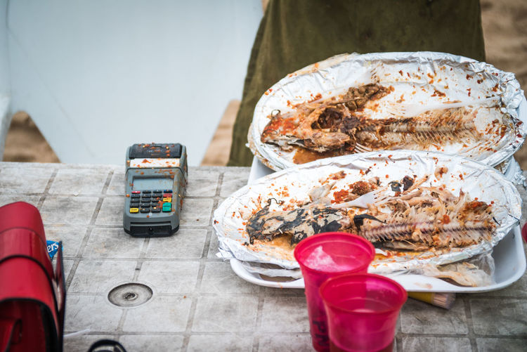 Seems like a good day. TheWeekOnEyeEM Close-up Day Eating Utensil Fish Food Food And Drink Freshness High Angle View Indulgence Meat No People Outdoors Plate Ready-to-eat Seafood Still Life Streetphotography Sweet Food Table Temptation Tray Wood - Material