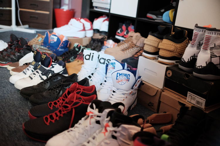 Abundance Arrangement Choice Collection Day For Sale In A Row Kicks Large Group Of Objects Market Market Stall Multi Colored Outdoors Retail  Sale Shoes Side By Side Sneakers Variation