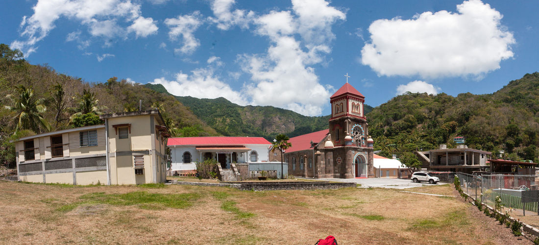 Architecture Beauty In Nature Blue Built Structure Cloud Cloud - Sky Cloudy Day Empty Landscape Mountain Mountain Range Nature No People Non-urban Scene Outdoors Road Scenics Sky The Way Forward Tourism Tranquility Travel Destinations Church Dominica