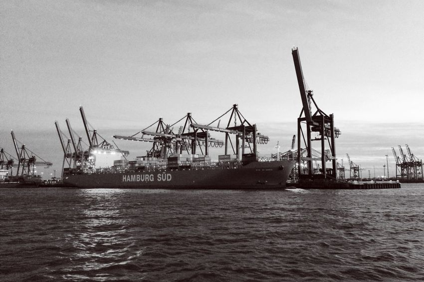 HAMBURG SÜD Hamburg Hamburg Harbour Harbour Trade Industrial Industrial Landscapes Cranes Ship Vessel Container Ship Container Blackandwhite Vscocam VSCO EyeEm Best Shots - Black + White Water River River View EyeEm Masterclass IPhoneography