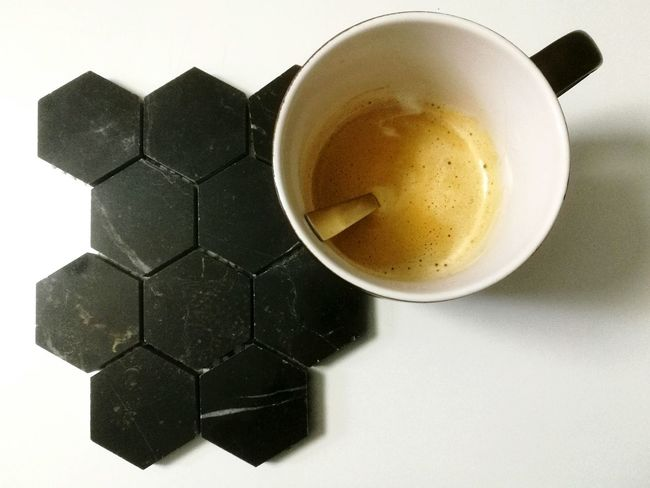 Close-up Coffee Coffee Cup Marbledstone Hexagon White Background Studio Shot Food And Drink Blackmarble Coffee Time ☕ Coffeelover