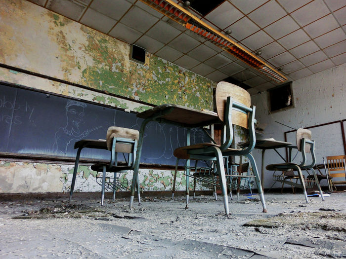 Interior Of Abandoned Classroom