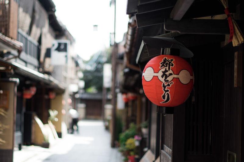 Lanterns hanging on street in city