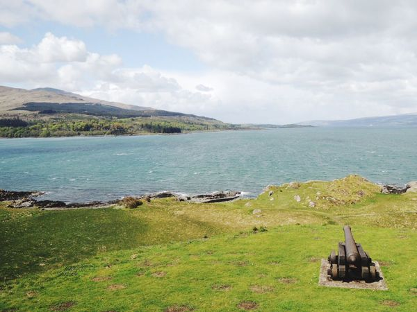 Cannon on the green grass, scotland shore Shore Countryside Scotland Greengrass Grass Cannon