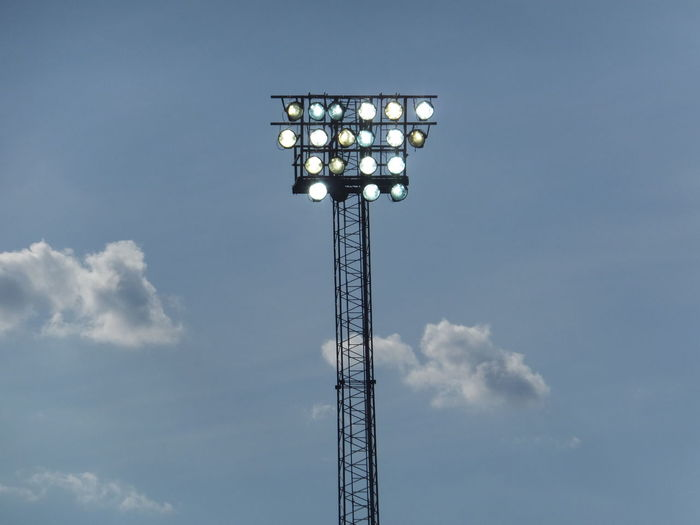 Electricity  Lighting Equipment Low Angle View No People Power Supply Sky Stadium Tall - High