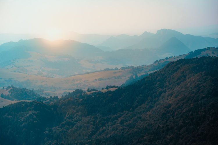 Mountain valley landscape. beautiful natural scenery before sunset