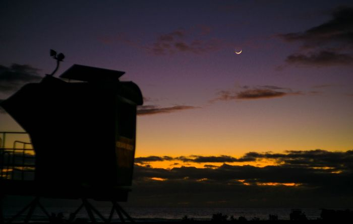 Shore Hawaii Beach Crescent Moon Moon Sunset Sky Silhouette Built Structure No People Cloud - Sky Architecture Building Exterior Outdoors Nature Beauty In Nature Tranquility Scenics Sea Day