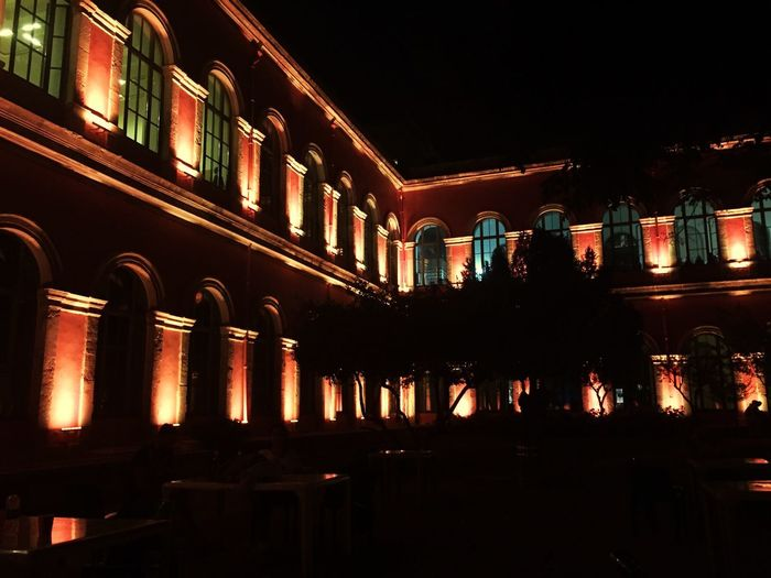 Stone Building Windows Academy Academia Inner Garden Night Taşkışla Illuminated Night Architecture Building Exterior Built Structure Low Angle View Outdoors No People