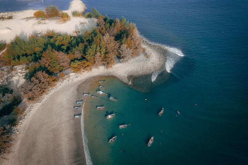 Water Sea Beauty In Nature Scenics - Nature High Angle View Nature Day Land Tranquility Transportation Tranquil Scene Beach Aerial View No People Plant Non-urban Scene Tree Outdoors Coastline Turquoise Colored