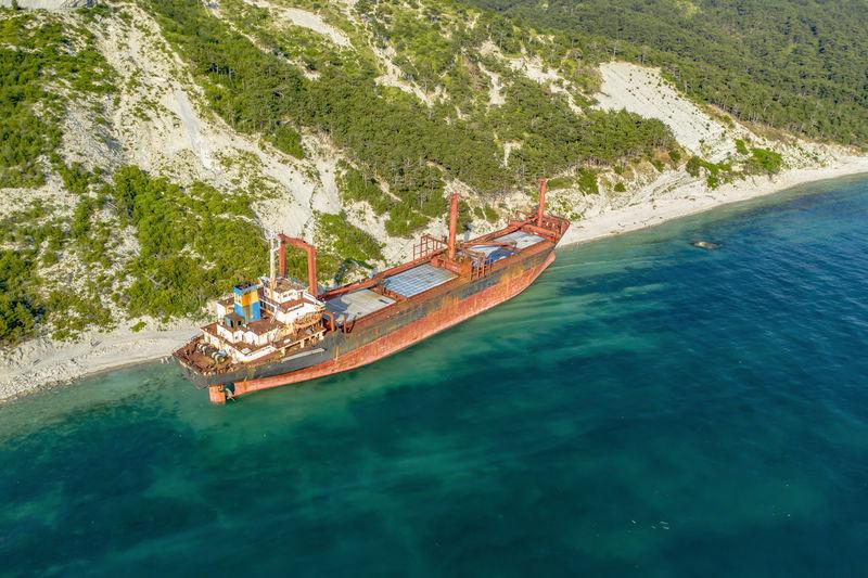 Kabardinka, russia. dry cargo ship rio on the shore left after a shipwreck.