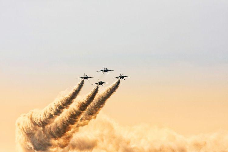Blue Impulse Flying Airshow Teamwork Airplane Air Vehicle Sky Speed