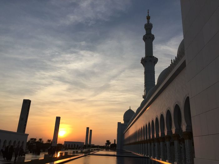 Low Angle View Of Grand Mosque Sheikh Al Zayed Against Sky During Sunset