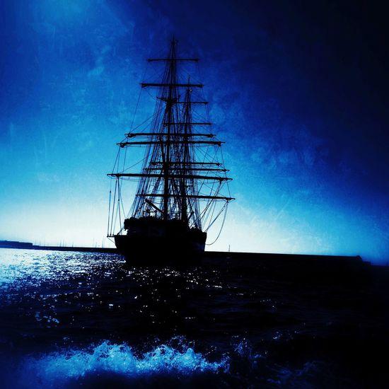 Ship Cyanotype Nautical Vessel Harbour Sea