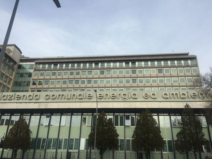 Rome, Italy - January 8, 2018: Acea headquarters in piazzale Ostiense. Acea Azienda Comunale Energia e Ambiente SpA is an Italian energy and water supply company Company Ostiense Power Rome Water Supply Architecture Building Building Exterior Built Structure Energy Energy Supply Headquarters Italian Italy No People Outdoors Rome Italy