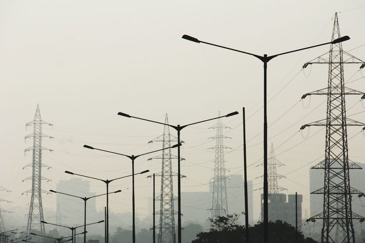 Industrial Street Light Electric Grid Smoke Sepia Cityscape Technology Industry Power Line  Urban Scene Foggy Mist EyeEmNewHere