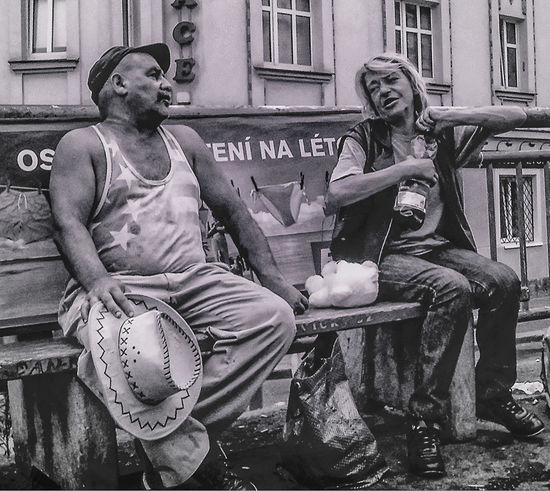 Drinking Pals Bench Hat Prague Sitting Street Shot Alcohol B&w B&w Street Photography Black And White Photography Booze Real People Seat Street Street Photography