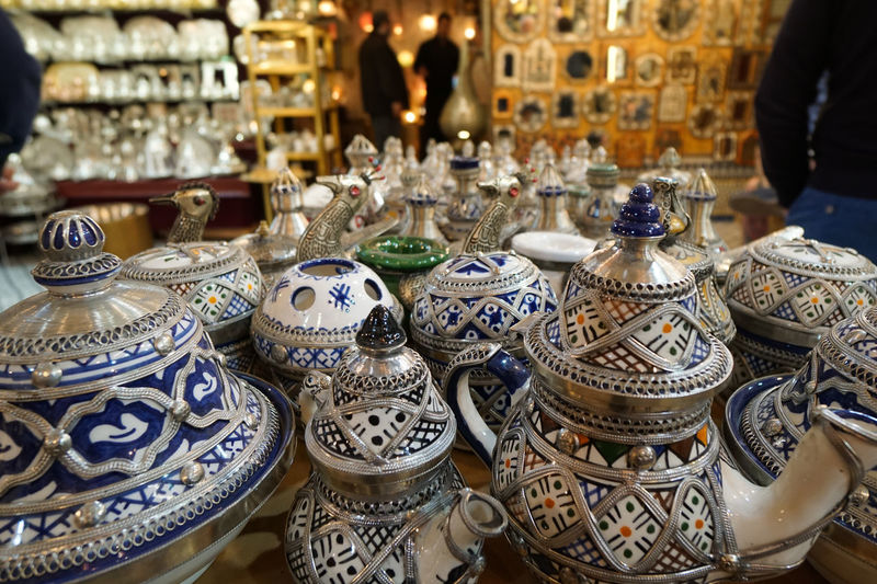 Crockery for sale at market stall