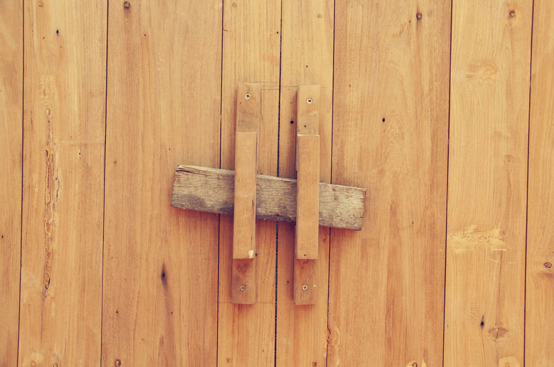 Close-Up Of Wooden Door With Latch