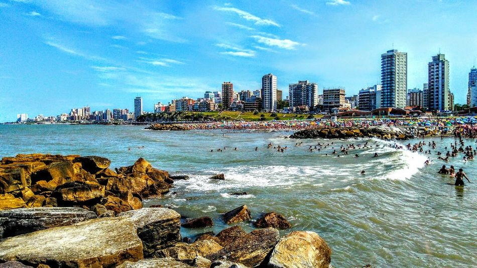Water Skyscraper Sea Beach City Urban Skyline Building Exterior Outdoors Sky Cityscape No People Wave Architecture Cloud - Sky Day Mardelplata Mardel Live For The Story
