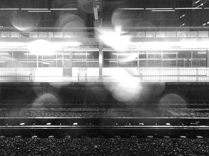 雨降り IPhoneography Raindrops Station Railroad Track Rainy Lens Flare Night Indoors  No People