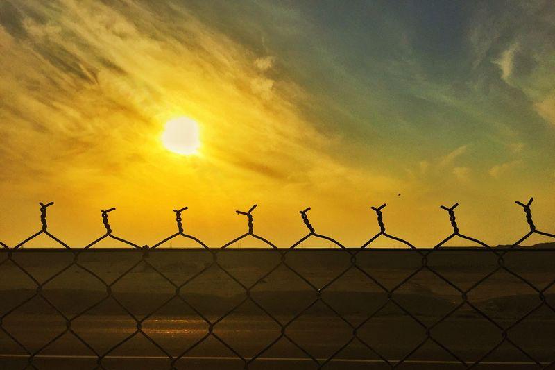 Fence Sun Sunset Horizon Sky Clouds And Sky Newportproject