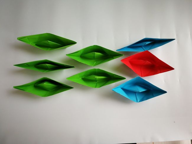 Multi Colored Variation Neat White Background Studio Shot Arrangement In A Row Close-up Green Color Paper Boat ArtWork Five Objects Triangle Shape Knolling - Concept Geometric Shape Prepared Food Hexagon Circular Honeycomb Shape Pyramid Rectangle Triangle Human Interest Square Shape Bunting Pyramid Shape Colored Pencil Served Craft