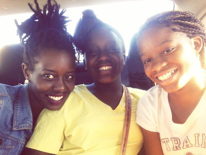 Picture is rolling Backseatselfie Smiling Cheerful Happiness Unity Blackgirlmagic Melanin Queen Goddess Lifestyles BlackBeauty Selfie Time Blessed  Togetherness Leisure Activity Matte Lipstick Beauty Gorgeous Inspired Family