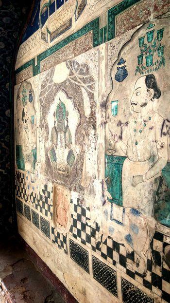 Wall Art Old Painted Wall Fort Close-up RajasthanArt