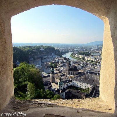 The view of Salzburg Altstadt from Hohensalzburg Fortress that sits atop the Festungsberg, a small hill in the Austrian city of Salzburg. To spend one day only in this birthplace of 18th-century composer Wolfgang Amadeus Mozart. There are just so many places that people must see and enjoy. And, one day would never be enough if you would like to visit the settings of The Sound of Music. Salzburg, Austria April 2014