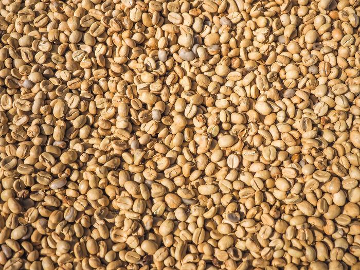 Coffee beans on the floor.
