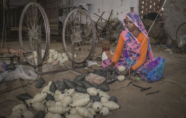 India Jaipur Working Adults Only Headwear One Person One Woman Only Only Women People Portrait Rajasthan Real People Remote India Small Industries Village Life Working Women