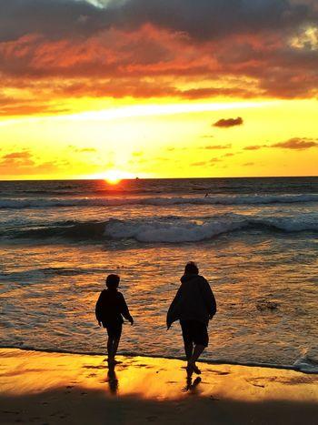 Silhouette Sunset Beach Water