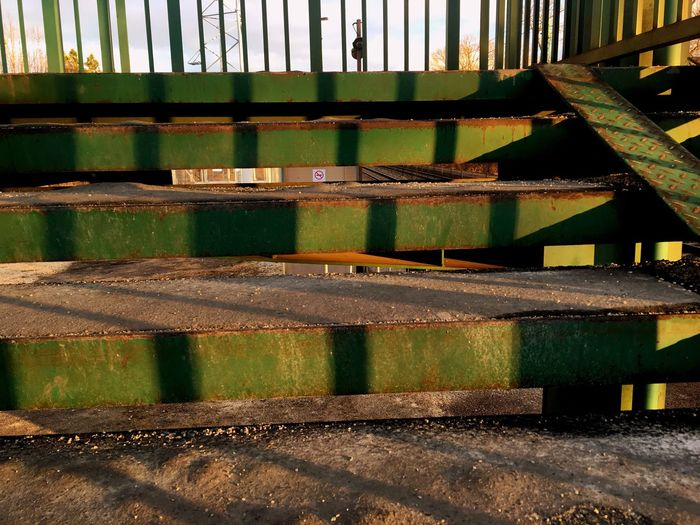 Rust Rusty Green Stairs Railway Station No Smoking No People Wednesday On My Way To  My Love❤ Sunset Sun Rays Orange Beauty In Nature Built Structure IPhoneography Countryside IPhone Village IPhone SE Sunlight Sun Spring Iron Fence
