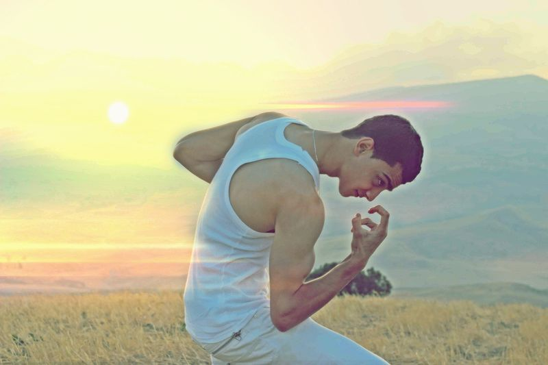 Beauty In Nature Casual Clothing Day Field Full Length Happiness Lifestyles Nature One Person Outdoors People Real People Scenics Side View Sky Sunset Young Adult Young Men