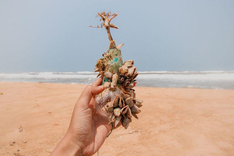 Hand holding sand at beach against clear sky