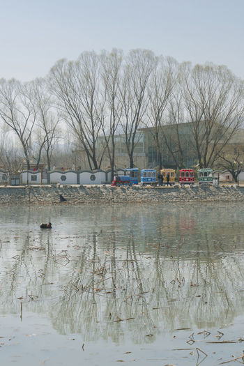 桃花才上枝头,塘冰早也褪尽,池底挖出莲藕,岸边卖与游人。 pond Water Tree Reflection Plant Lake Spring Train Pond