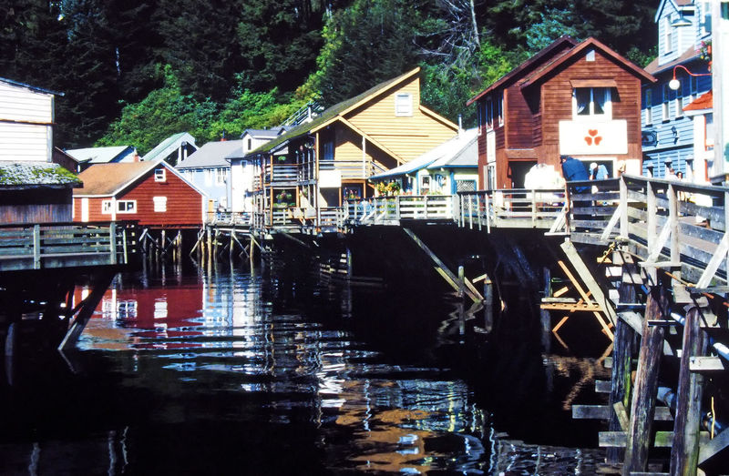 The boardwalk in Ketchikan, Alaska, USA Architecture Water Tree Dark Water Day House Outdoors Waterfront No People Wooden Houses KetchikanAlaska Nautical Vessel Building Exterior Built Structure Boardwalks Wooden Stilts