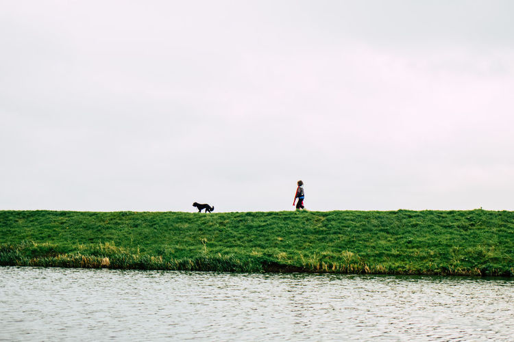 Agriculture Animal Themes Beauty In Nature Day Dog Domestic Animals Field Full Length Grass Green Color Growth Lake Landscape Lifestyles Mammal Nature One Animal One Person Outdoors Pets Real People Rural Scene Scenics Sky Standing EyeEmNewHere Perspectives On Nature