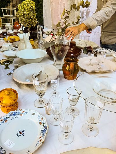 Antique shopping Table Dining Table Drinking Glass Place Setting Large Group Of Objects Wineglass Shopping ♡ Shop Antiques Antiquestore Antique Shop Antique Shopping Glass - Material Glasses