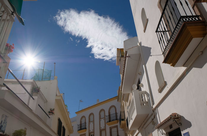 Arches Architecture Balconies Building Exterior Built Structure City Cloud Day High Contrast Holiday Light And Shadow Low Angle No People Outdoors Roof Terrace Sky Spain, Andalucia, Malaga Spanish Arquitecture Sun Sunbeam Torremolinos Travel Destinations Village View Windows