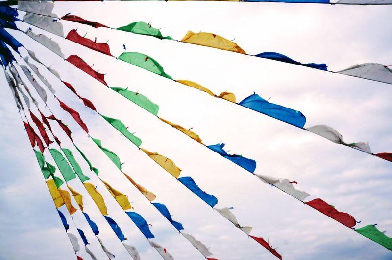 Celebration Event Cultures Flag Hanging Multi Colored Sky Springtime Xizang