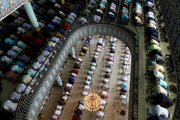 High angle view of people at mosque