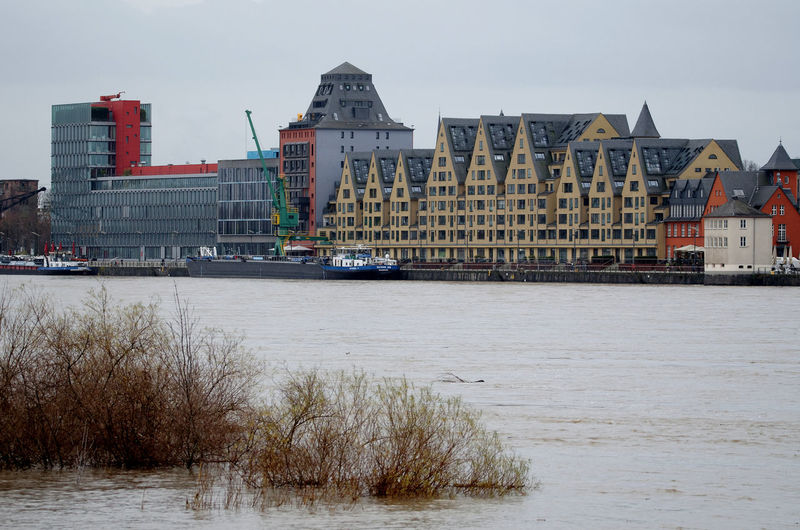 Cityscape Cologne High Water Hochwasser Hochwasser Rhein 2018 Rhein Architecture Building Exterior Built Structure City Day Flood No People Outdoors Rheinauhafen River Riverbank Siebengebirge Water Waterfront